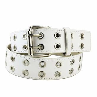 Zonfer 1pc Women Punck Pu Leather Belt Double Eyelet Grommet Waist Belt Fashion Hollow Rivets Double Prong Belt Dress Pants Waistband Belt