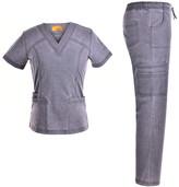 Jeanish Women's Scrubs Bottoms Pewter - Pewter Stretchy V-Neck Scrub Top & Drawstring Scrub Pants - Women