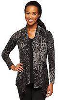 As Is Susan Graver Liquid Knit Printed Cardigan with V-Neck Tank