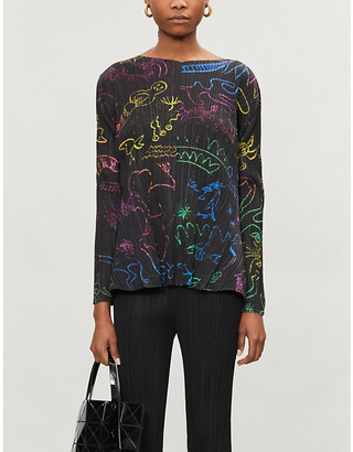 Pleats Please Issey Miyake In Her Dream abstract-print woven pleated top