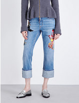 Alexander McQueen Embroidered straight cropped high-rise jeans