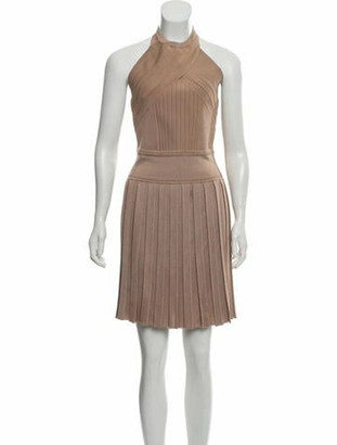 Balmain Halter Mini Dress Tan