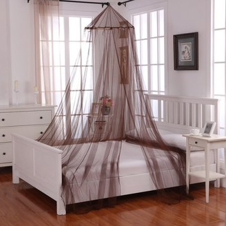 Casablanca Ecru Off-White Oasis Round Hoop Polyester Sheer Mosquito Netting Bed Canopy