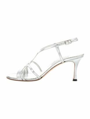 Manolo Blahnik Leather Slingback Sandals Silver