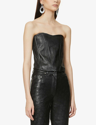 Saks Potts Pex logo-embossed leather corset top