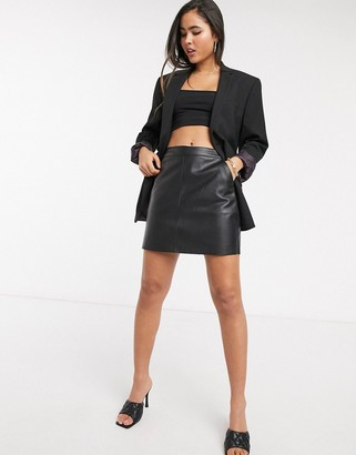 Vero Moda aline faux leather skirt in black