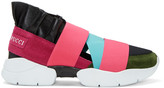 Emilio Pucci Pink and Black Colorblock Slip-on Sneakers