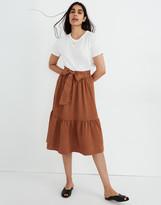 Madewell Tie-Waist Tiered Midi Skirt in Stripe