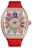 Franck Muller Lady Vanguard Diamond Watch with Embossed Rubber Strap