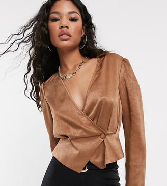 UNIQUE21 satin button front blouse