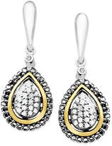 Macy's Diamond Teardrop Earrings in 14k Gold and Sterling Silver (1/8 ct. t.w.)