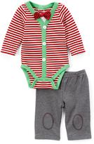 Vitamins Baby Red & White Stripe Bodysuit Set - Infant