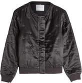 Velvet Cotton-Silk Bomber Jacket with Eyelets