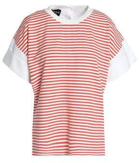 Moschino Poplin-Paneled Striped Jersey Top