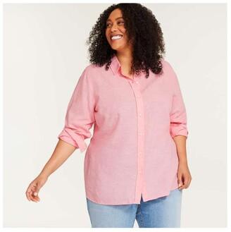 Joe Fresh Women+ Linen Blend Shirt, Black (Size 3X)