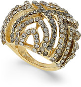 INC International Concepts Gold-Tone Black Crystal Chevron Dome Ring, Only at Macy's