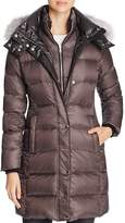 Andrew Marc Skylar Fox Fur-Trim Long Down Coat