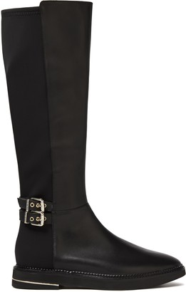 DKNY Lena Buckled Leather And Scuba Boots