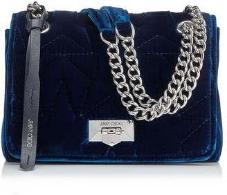 Jimmy Choo HELIA SHOULDER BAG/S Navy Velvet Shoulder Bag with Chain Strap