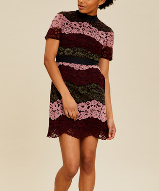 Ted Baker Women's Casual Dresses OXBLOOD - Oxblood Lace Jaseyy A-Line Dress - Women