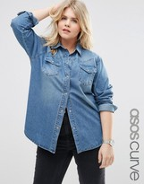 Asos Denim Boyfriend Shirt in Mid Blue Wash