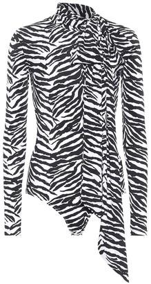 MM6 MAISON MARGIELA Zebra-print stretch-jersey bodysuit