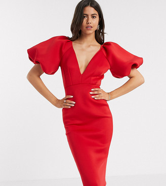True Violet exclusive plunge balloon sleeve midi dress in red