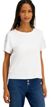 INC International Concepts Inc Petite Cotton Sequinned-Sleeve Top, Created for Macy's