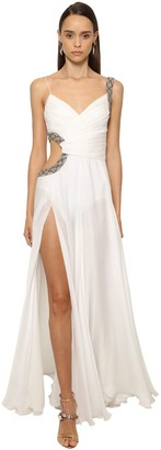 Roberto Cavalli Silk Chiffon Long Dress W/ Side Cutout