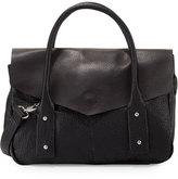 Neiman Marcus Cargo Pebbled Faux-Leather Satchel Bag, Black/Silver