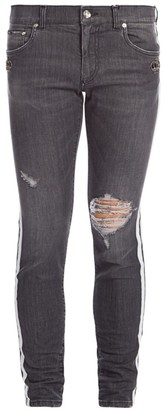 Dolce & Gabbana Side Tape Distressed Jeans
