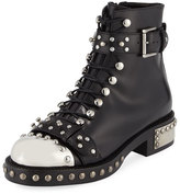 Alexander McQueen Studded Lace-Up Cap-Toe Boot, Black