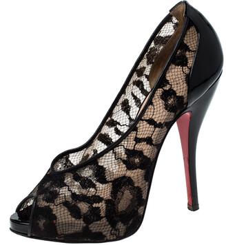 Christian Louboutin Lace And Patent Leather Ambro Peep Toe Pumps Size 36.5