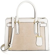 Merona Women's Medium Belted Tote Faux Leather Handbag with Canvas Detail Shell