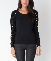 Yuka Paris Black Embellished Ruched-Sleeve Sweater