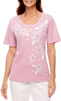Alfred Dunner Garden Party Short Sleeve Floral T-Shirt