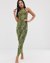 Asos DESIGN neon reptile print jersey mesh beach maxi dress with cowl neck & rope tie