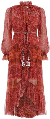 Zimmermann Edie Ruffle Long Robe Dress