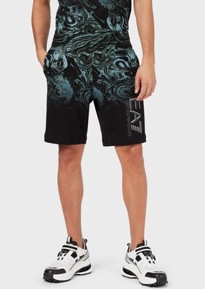 Ea7 Cotton Sweat Shorts With Wavy Print