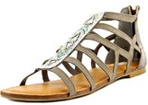 Not Rated Crystalyn Women Open Toe Canvas Gray Gladiator Sandal.