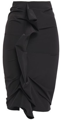 Maison Margiela Ruffle-trimmed Ruched Twill Pencil Skirt
