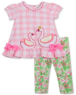 Rare Editions Baby Girls 2-Pc. Swan Top & Leggings Set