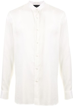 Shanghai Tang Linen Mandarin Collar Shirt