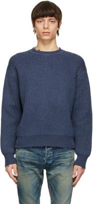 John Elliott Blue Merino Wool Structure Sweater