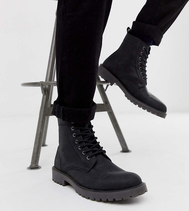 c6d7696dea7 Design DESIGN Wide Fit lace up boots in black leather with chunky sole