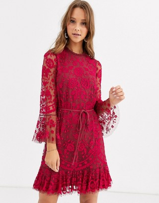 Needle & Thread embroidered flippy hem mini dress with fluted sleeves in red