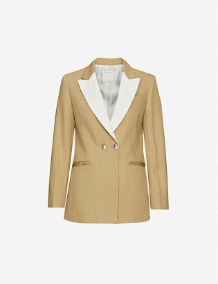 Sandro Parise double-breasted crepe-lapel twill blazer