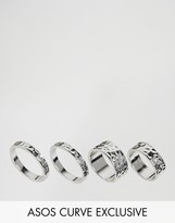 Asos Exclusive Pack of 4 Hammered Ring Pack