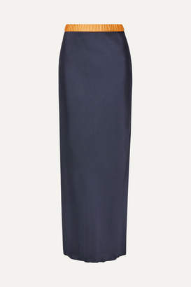 Helmut Lang Tulle-trimmed Satin Maxi Skirt - Midnight blue