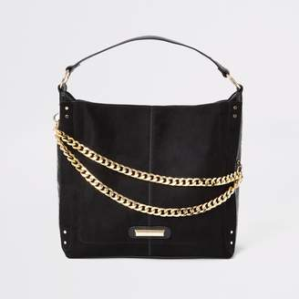 River Island Womens Black double chain front slouch bag